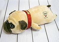 Плюшевая игрушка-подушка собака мопс бежевая 40х21х12 см, мягкая собака | м'яка іграшка собака