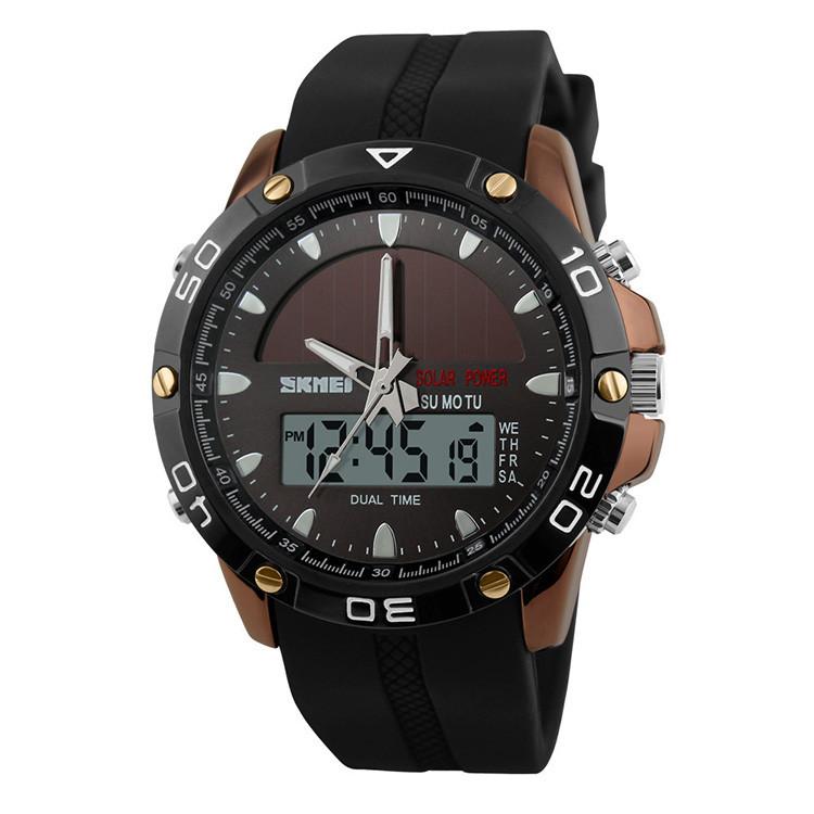 Skmei 1064 solar сріблясті спортивні годинники чоловічі