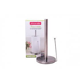 Держатель для бумажных полотенец Kamille Ø15 * 34 см серый из нержавеющей стали с хромированным покрытием и