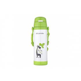 Термос-пляшка дитяча 500 мл. Kamille 2086 нержавіюча сталь зелений