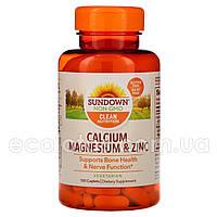 "Кальций, магний и цинк ""Sundown Naturals"" 100 таблеток"