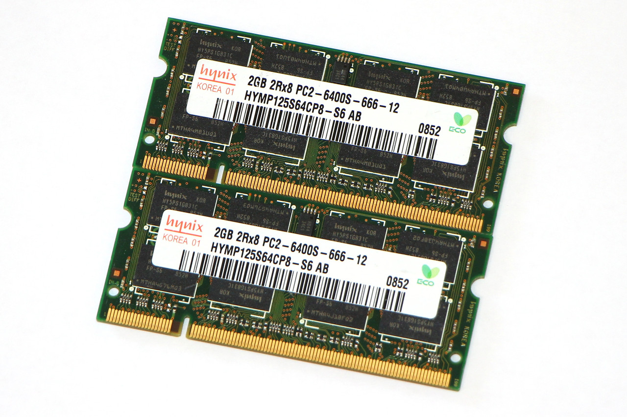 Оперативная память для ноутбука DDR2 4GB (2X2Gb) PC2-6400s 800MHz, Hynix (б/у)