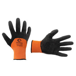 """Перчатка оранжевая вязанная синтетическая, усиленная, покрытая черным вспененым латексом 10"""" INTERTOOL SP-0117, фото 2"""