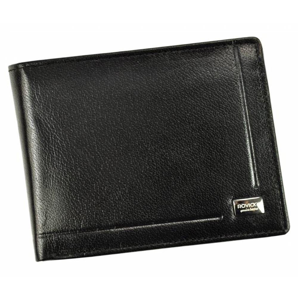 Чоловіче шкіряне портмоне з евромонетницей чорне Rovicky CPR-022 Black
