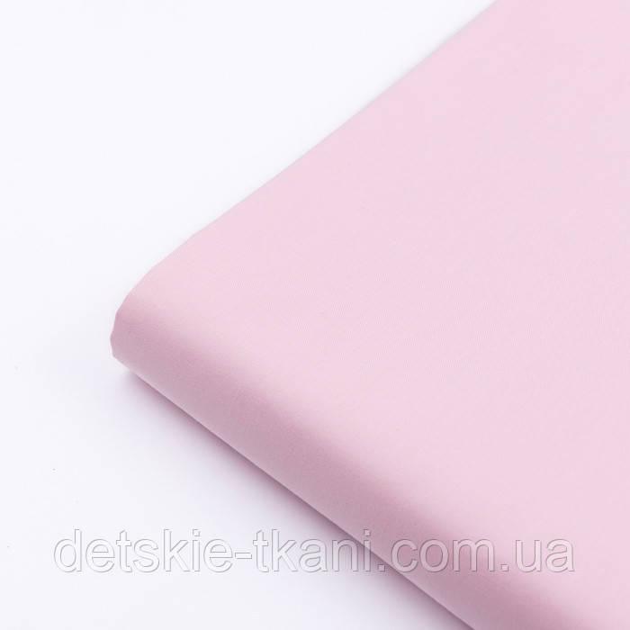Клапоть сатину однотонного світло-рожевого кольору № 2165с, розмір 36*80 см