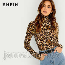 Водолазка леопардовая тонкая - S (42р.) бюст 80-88см, длина 56см, рукав 59см, 20% спандекс, 80% полиэстер