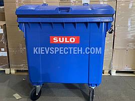 Євроконтейнер пластиковий зі сферичною кришкою, V-1100 л,синій, фото 3