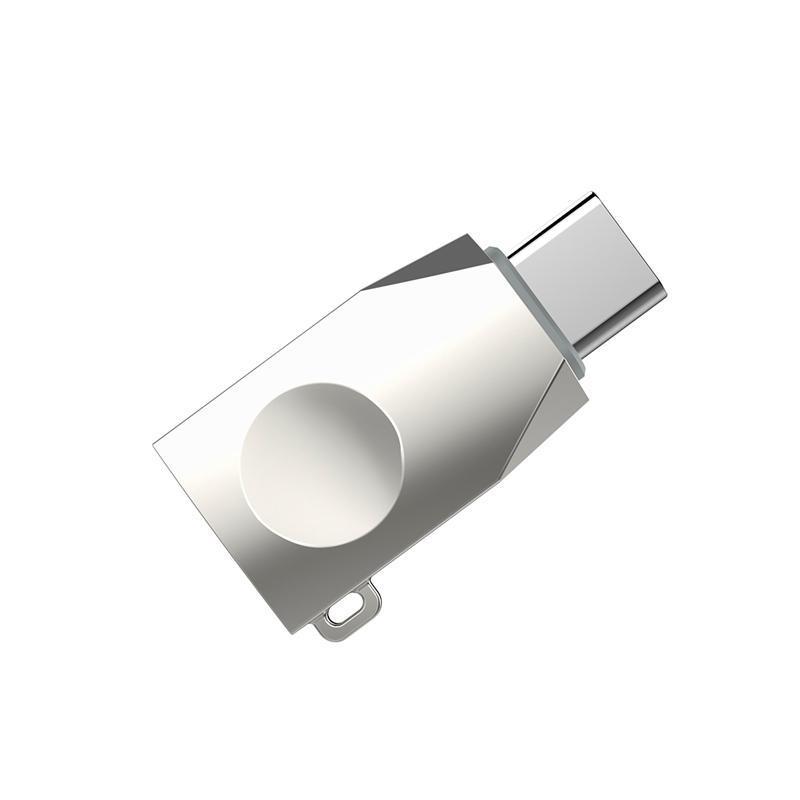 Адаптер USB type C (тато) = USB (мама) Hoco UA9 OTG Pearl Nickel