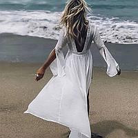 Женская белая пляжная туника макси, фото 1