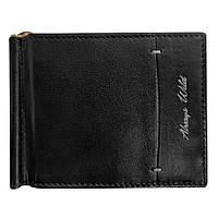 Зажим для денег кожаный черный тонкий Always Wild N55039-WGN Black+Grey, фото 1
