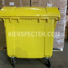 Євроконтейнер пластиковий зі сферичною кришкою, V-1100 л, жовтий, фото 3