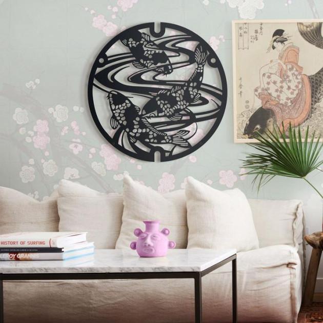 Декор для стен Панно из дерева  Карпы Кои