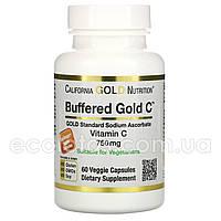 """Витамин С буферизованный """"California Gold Nutrition"""" 750 мг 60 капсул"""