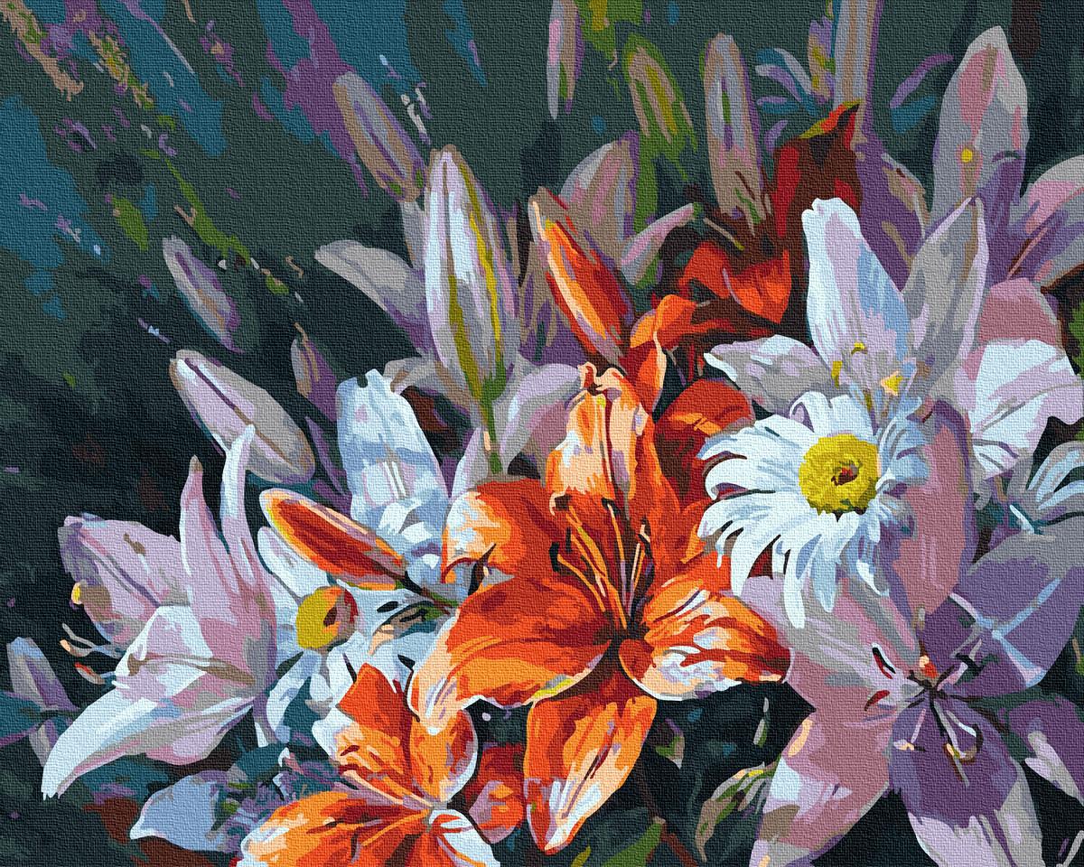 Картина по номерам Букет из цветных лилий