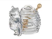 """Банка стеклянная для меда с деревянной палочкой """"Винни Пух"""", размер 12Х14 см"""
