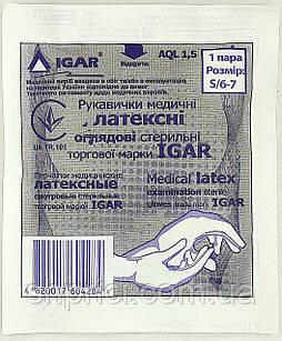 Перчатки латексные стерильные смотровые опудренные / размер 6-7 (S) / Игар