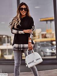 Женский худи-рубашка на флисе (Батал)