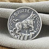 Серебряная счастливая монета 2021 размер 22х22 мм вес 3.5 г