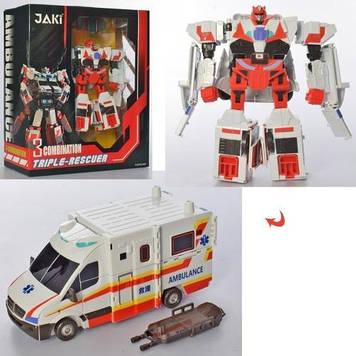 Трансформер 24см,робот+швидка допомога,в кор-ці,28х35х12,5см №JQ6118-2(9)