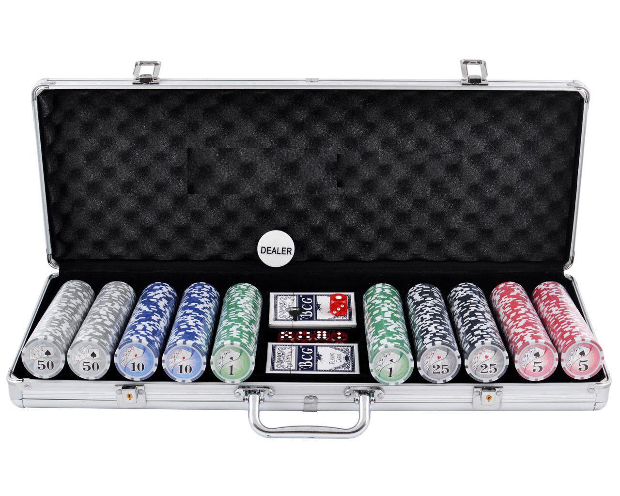 Покерный набор на 500 фишек в кейсе с номиналом.