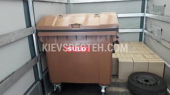 Євроконтейнер пластиковий зі сферичною кришкою, V-1100 л,коричневий, фото 2