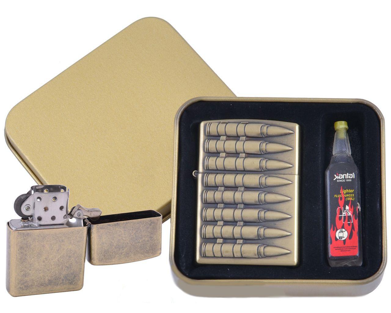 Зажигалка бензиновая в подарочной коробке Пули