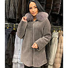 Меховое Пальто Укороченное Из Шерсти Мериноса  Цвет Аметист 012ГШ, фото 2