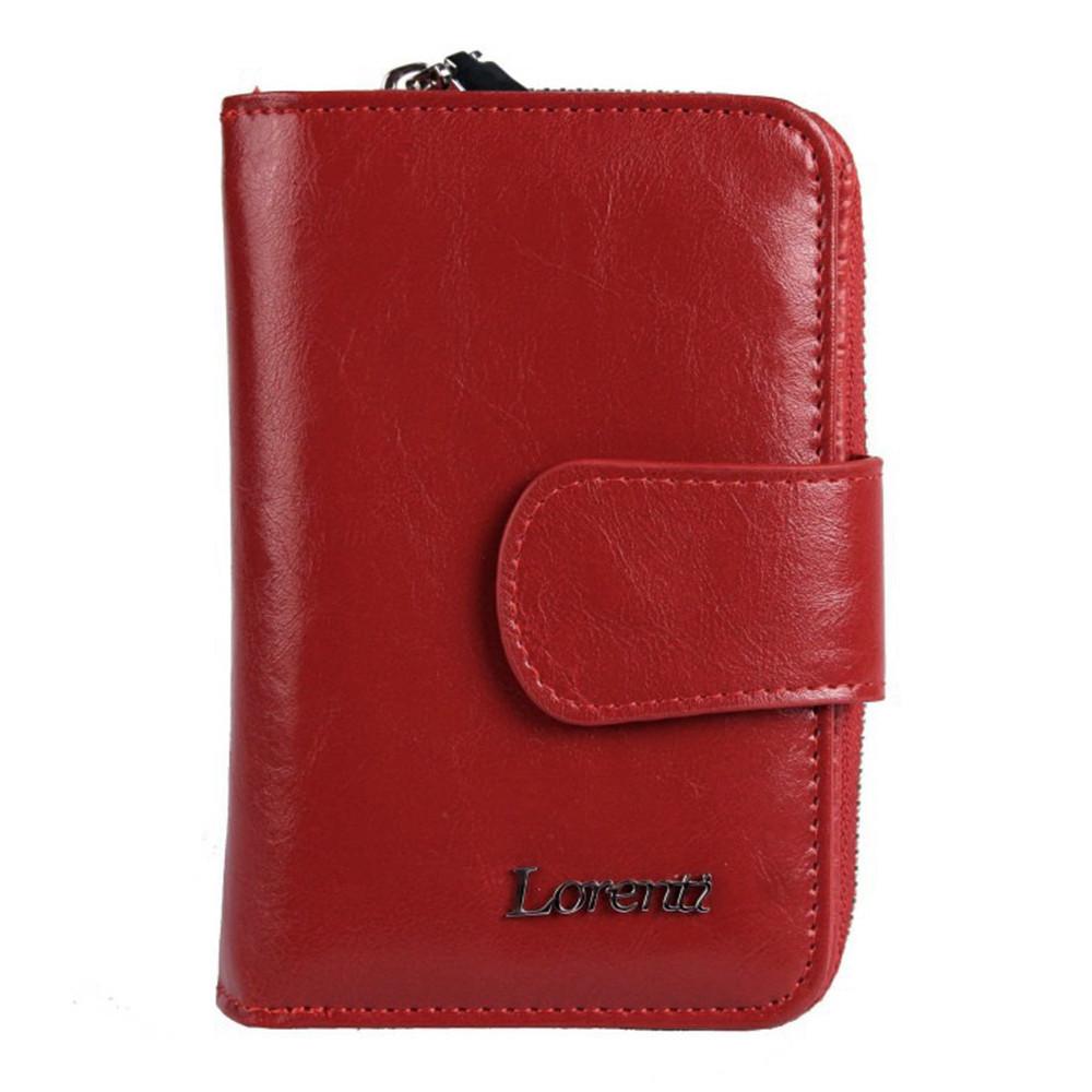 Женский кожаный кошелек маленький красный Lorenti 76115-BPR Red