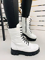 Ботинки женские белые из натуральной кожи, фото 1