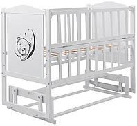 Кровать Babyroom Тедди Т-02 фигурное быльце, маятник, откидной бок  белый, фото 1