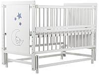 Кровать Babyroom Медвежонок M-02 маятник, откидной бок  бук белый, фото 1