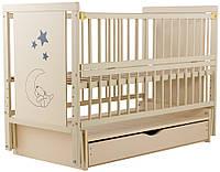Кровать Babyroom Медвежонок M-03 маятник, ящик, откидной бок  бук слоновая кость, фото 1
