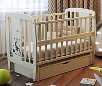 Кровать Babyroom Жирафик маятник, ящик, откидной бок  бук слоновая кость