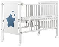 Кровать Babyroom Звездочка Z-01 откидной бок, колеса  бук белый, фото 1