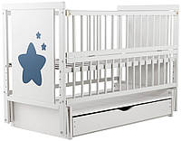 Кровать Babyroom Звездочка Z-03 маятник, ящик, откидной бок  бук белый, фото 1