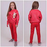 Дитячий теплий костюм Мишка Кофта+Лосіни Турція Світло-червоний