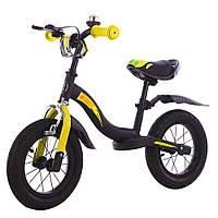 """Велобег с надувными колесами 12"""" TILLY Balance Rocket T-212520 Yellow, звонок, ручной тормоз"""