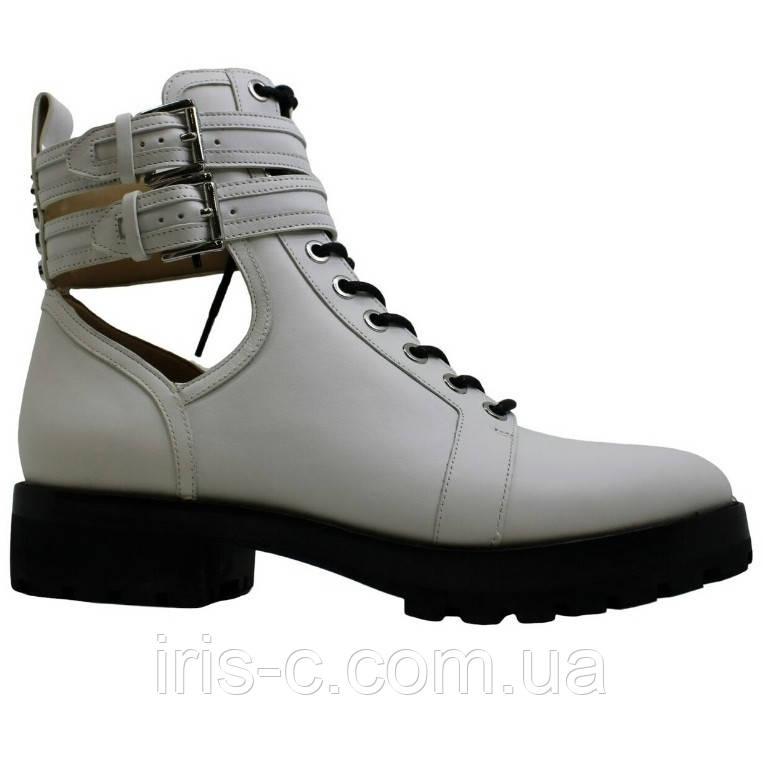 Ботинки женские большой размер, брендовые Michael Kors, белые, натуральная кожа, р.42/43