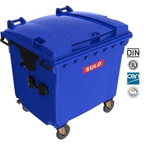 Євроконтейнер  Sulo з пласкою кришкою 1100 л. синій, фото 2