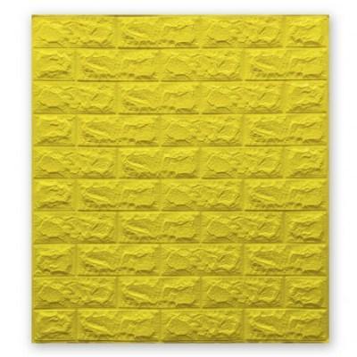 Мягкие 3D панели 700x770x7мм (самоклейка) Кирпич Желтый