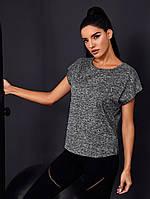 Женская серая спортивная футболка свободного кроя, фото 1