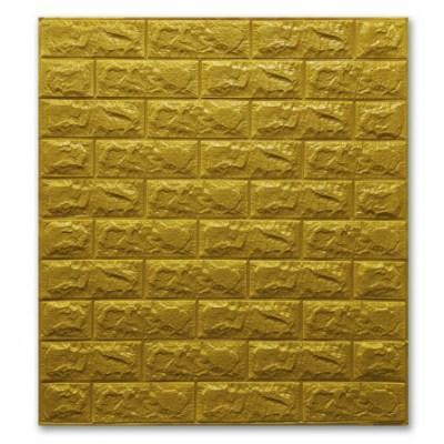 Мягкие 3D панели 700x770x7мм (самоклейка) Кирпич Золото