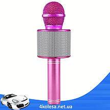 Микрофон караоке Wester WS-858 - беспроводной Bluetooth микрофон для караоке с плеером Розовый, фото 3