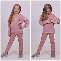 Дитячий теплий костюм Мишка Кофта+Лосіни Турція Пудровий
