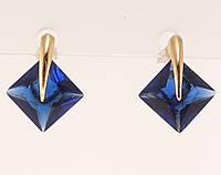 """Серьги XP Позолота 18К гвоздики (пусеты) """"Синие кристальные ромбы с дужкой"""""""
