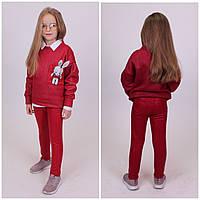 Дитячий теплий костюм Мишка Кофта+Лосіни Турція Темно-червоний