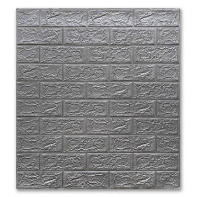 Мягкие 3D панели 700x770x5мм (самоклейка) Кирпич Серебро