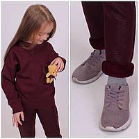 Дитячий теплий костюм Мишка Кофта+Лосіни Турція Бордовий