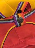 Женский рюкзак сумка канкен красный с радужными ручками 16 литров Fjallraven Kanken classic rainbow радуга, фото 8