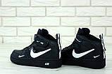 Кроссовки мужские Nike Air Force 1 в стиле найк форсы Черные (Реплика ААА+), фото 2
